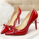 Women's Patent Leather Stiletto Heel Closed Toe Pumps With Bowknot