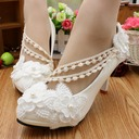 Women's Lace Leatherette Stiletto Heel Closed Toe Pumps With Imitation Pearl Flower Applique