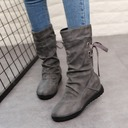 Women's Leatherette Flat Heel Closed Toe Boots Mid-Calf Boots Martin Boots Riding Boots With Buckle Lace-up shoes