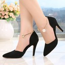 Women's Suede Stiletto Heel Sandals Closed Toe With Imitation Pearl shoes