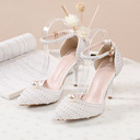 Women's Leatherette Stiletto Heel Closed Toe With Pearl