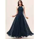 A-Line Scoop Neck Floor-Length Chiffon Lace Bridesmaid Dress With Ruffle (007233677)