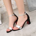 Women's Leatherette Chunky Heel Sandals Pumps With Rhinestone shoes