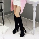 Women's Suede Chunky Heel Pumps Platform Boots Knee High Boots With Buckle Zipper shoes