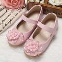 Girl's Closed Toe Leatherette Flat Heel Flats With Imitation Pearl Flower