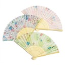 Floral Design Bamboo/Silk Hand fan (Set of 6)