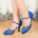 Women's Satin Heels Ballroom With Rhinestone Dance Shoes