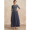 A-Line Scoop Neck Ankle-Length Chiffon Lace Mother of the Bride Dress With Cascading Ruffles (008235585)