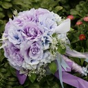 Romantic Purple Round Satin Bridal Bouquets