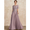 A-Line Scoop Neck Floor-Length Chiffon Lace Mother of the Bride Dress (008235582)