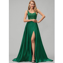A-Line Square Neckline Sweep Train Satin Prom Dresses With Lace Sequins Split Front (018220252)