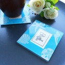 """Tea Time""/Classic Square Glass Tea Party Favors/Coaster (Set of 2 pieces)"
