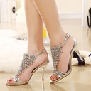 Women's Leatherette Stiletto Heel Peep Toe Pumps Sandals With Buckle Chain