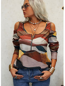 Regular Cotton Blends Cold Shoulder Print Fitted Blouses