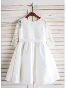 A-Line/Princess Tea-length Flower Girl Dress - Taffeta/Lace Long Sleeves Scoop Neck