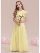 A-Line Scoop Neck Floor-Length Chiffon Junior Bridesmaid Dress With Ruffle Cascading Ruffles