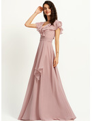 A-Line V-neck Floor-Length Bridesmaid Dress With Ruffle Split Front