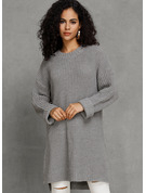 Chunky knit Solid Cotton Round Neck Pullovers Sweater Dresses Sweaters