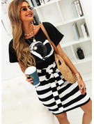 Print Striped Heart Bodycon Round Neck Short Sleeves Midi Casual Pencil Dresses