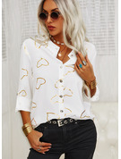 Regular Cotton Blends Stand collar Print Heart Fitted Blouses