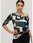 Long Sleeves Cotton One Shoulder Blouses
