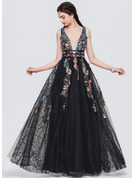A-Line/Princess V-neck Floor-Length Tulle Prom Dresses With Lace Beading Sequins