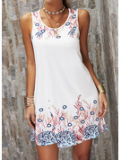 Print Shift Round Neck Sleeveless Midi Casual Vacation Tank Dresses