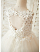 A-Line/Princess Knee-length Flower Girl Dress - Tulle/Lace Sleeveless Scoop Neck With Lace