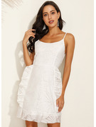 Polyester/Lace With Print/Ruffles Above Knee Dress