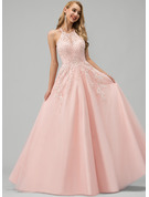 Scoop Neck Floor-Length Tulle Wedding Dress With Lace Beading Sequins