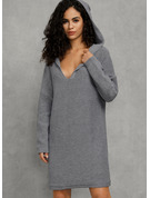 Waffle Knit Chunky knit Solid Polyester Hooded Pullovers Sweater Dresses Sweaters