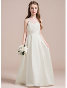 A-Line Sweetheart Floor-Length Satin Junior Bridesmaid Dress With Ruffle