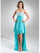 Empire Sweetheart Asymmetrical Chiffon Holiday Dress With Lace Beading Sequins Cascading Ruffles