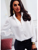 Regular Fitted Solid Button Up Elegant Long Sleeves