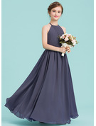 Scoop Neck Floor-Length Chiffon Junior Bridesmaid Dress