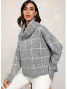 Gros tricot Grille Polyester Col Roulé Pull-overs Pulls