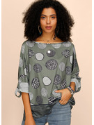 Short Sleeves Long Sleeves Polyester Round Neck Blouses
