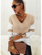 V-Neck Long Sleeves Color Block Casual Pullovers