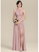 Scoop Neck Floor-Length Chiffon Bridesmaid Dress