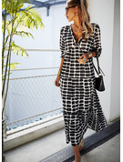 Print Shift V-Neck Long Sleeves Maxi Casual Dresses