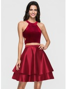 A-Line/Princess Scoop Neck Short/Mini Satin Homecoming Dress With Cascading Ruffles