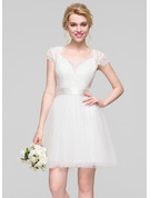 A-Line Sweetheart Short/Mini Tulle Homecoming Dress With Ruffle
