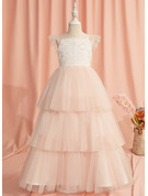 Ball-Gown/Princess Floor-length Flower Girl Dress - Tulle Short Sleeves Straps With Lace/Beading/V Back