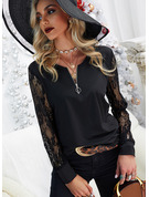 Regular Cotton Blends V-Neck Lace 3XL L S M XL XXL Blouses