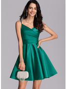 A-Line V-neck Short/Mini Satin Homecoming Dress With Ruffle Pockets