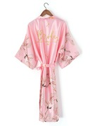 Personalized Charmeuse Bride Bridesmaid Mom Junior Bridesmaid Floral Robes Glitter Print Robes