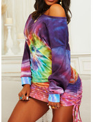 Tie Dye Bodycon Round Neck Long Sleeves Midi Casual Sweatshirt Dresses