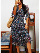 Floral Print Shift V-Neck 1/2 Sleeves Midi Casual Tunic Dresses