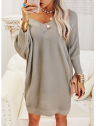 V-Neck Long Sleeves Solid Casual Long Sweater Dresses