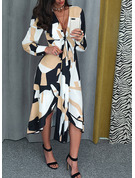 Geometric Print A-line V-Neck Long Sleeves Midi Elegant Dresses